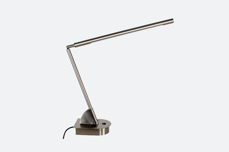 Adjustable Brushed Nickel LED Indoor Desk Lamp on/off rocker base switch and two convenience outlets